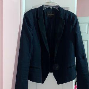 navy blue and black blazer
